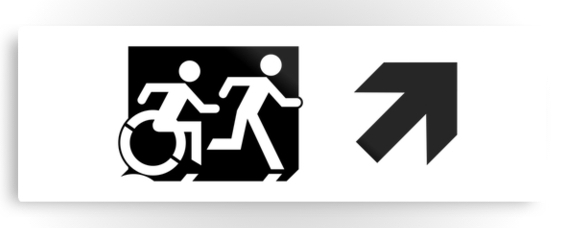 Accessible Means of Egress Icon Exit Sign Wheelchair Wheelie Running Man Symbol by Lee Wilson PWD Disability Evacuation Metal Printed 114