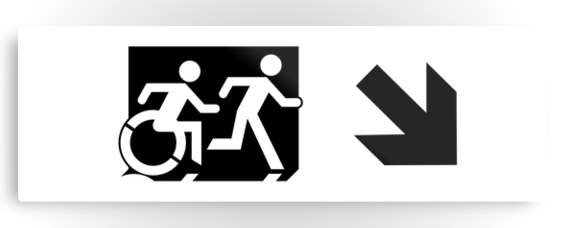Accessible Means of Egress Icon Exit Sign Wheelchair Wheelie Running Man Symbol by Lee Wilson PWD Disability Evacuation Metal Printed 115