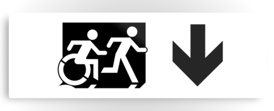 Accessible Means of Egress Icon Exit Sign Wheelchair Wheelie Running Man Symbol by Lee Wilson PWD Disability Evacuation Metal Printed 116