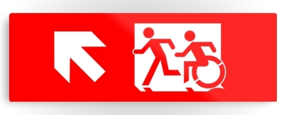 Accessible Means of Egress Icon Exit Sign Wheelchair Wheelie Running Man Symbol by Lee Wilson PWD Disability Evacuation Metal Printed 117