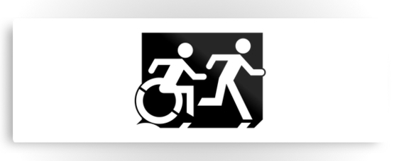 Accessible Means of Egress Icon Exit Sign Wheelchair Wheelie Running Man Symbol by Lee Wilson PWD Disability Evacuation Metal Printed 118