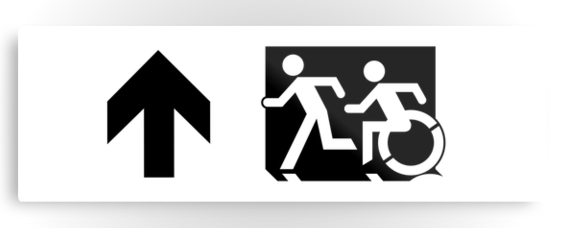 Accessible Means of Egress Icon Exit Sign Wheelchair Wheelie Running Man Symbol by Lee Wilson PWD Disability Evacuation Metal Printed 119