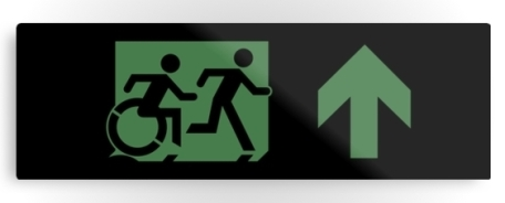 Accessible Means of Egress Icon Exit Sign Wheelchair Wheelie Running Man Symbol by Lee Wilson PWD Disability Evacuation Metal Printed 12