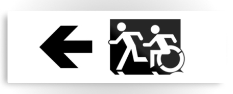 Accessible Means of Egress Icon Exit Sign Wheelchair Wheelie Running Man Symbol by Lee Wilson PWD Disability Evacuation Metal Printed 120