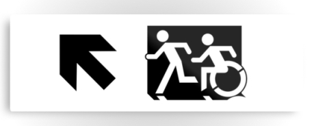 Accessible Means of Egress Icon Exit Sign Wheelchair Wheelie Running Man Symbol by Lee Wilson PWD Disability Evacuation Metal Printed 121