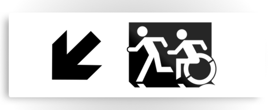 Accessible Means of Egress Icon Exit Sign Wheelchair Wheelie Running Man Symbol by Lee Wilson PWD Disability Evacuation Metal Printed 122
