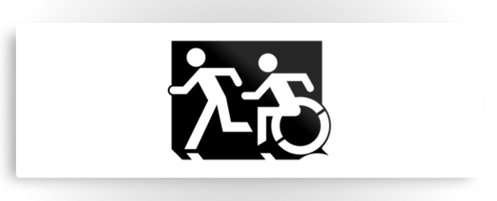Accessible Means of Egress Icon Exit Sign Wheelchair Wheelie Running Man Symbol by Lee Wilson PWD Disability Evacuation Metal Printed 123