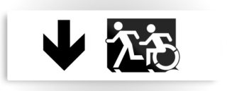 Accessible Means of Egress Icon Exit Sign Wheelchair Wheelie Running Man Symbol by Lee Wilson PWD Disability Evacuation Metal Printed 124