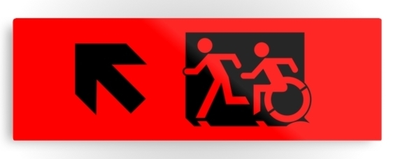 Accessible Means of Egress Icon Exit Sign Wheelchair Wheelie Running Man Symbol by Lee Wilson PWD Disability Evacuation Metal Printed 125