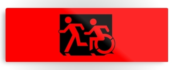 Accessible Means of Egress Icon Exit Sign Wheelchair Wheelie Running Man Symbol by Lee Wilson PWD Disability Evacuation Metal Printed 126