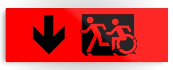 Accessible Means of Egress Icon Exit Sign Wheelchair Wheelie Running Man Symbol by Lee Wilson PWD Disability Evacuation Metal Printed 127