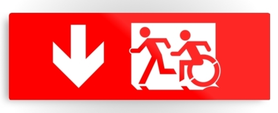 Accessible Means of Egress Icon Exit Sign Wheelchair Wheelie Running Man Symbol by Lee Wilson PWD Disability Evacuation Metal Printed 13