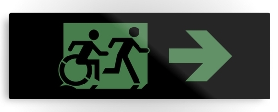 Accessible Means of Egress Icon Exit Sign Wheelchair Wheelie Running Man Symbol by Lee Wilson PWD Disability Evacuation Metal Printed 14