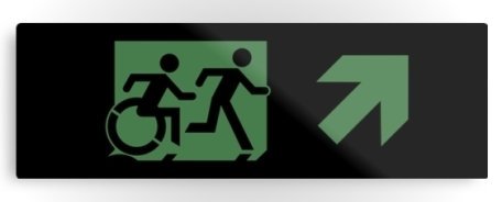 Accessible Means of Egress Icon Exit Sign Wheelchair Wheelie Running Man Symbol by Lee Wilson PWD Disability Evacuation Metal Printed 15