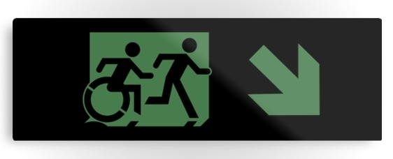Accessible Means of Egress Icon Exit Sign Wheelchair Wheelie Running Man Symbol by Lee Wilson PWD Disability Evacuation Metal Printed 16