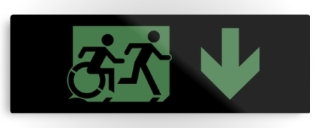 Accessible Means of Egress Icon Exit Sign Wheelchair Wheelie Running Man Symbol by Lee Wilson PWD Disability Evacuation Metal Printed 17