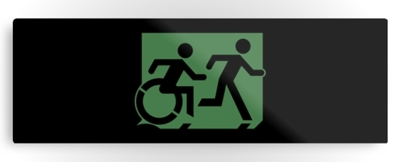 Accessible Means of Egress Icon Exit Sign Wheelchair Wheelie Running Man Symbol by Lee Wilson PWD Disability Evacuation Metal Printed 18