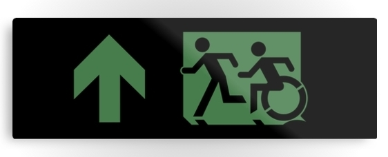 Accessible Means of Egress Icon Exit Sign Wheelchair Wheelie Running Man Symbol by Lee Wilson PWD Disability Evacuation Metal Printed 19
