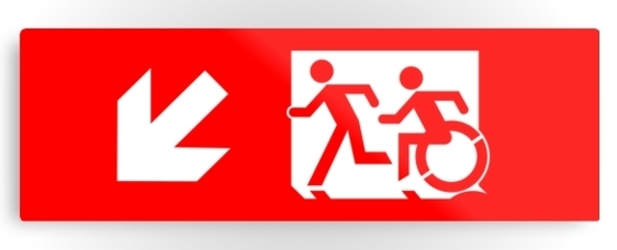 Accessible Means of Egress Icon Exit Sign Wheelchair Wheelie Running Man Symbol by Lee Wilson PWD Disability Evacuation Metal Printed 2