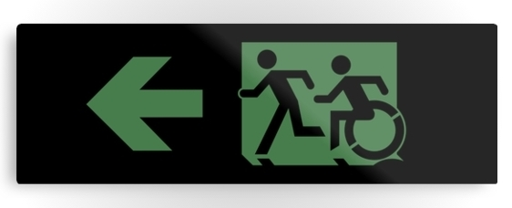 Accessible Means of Egress Icon Exit Sign Wheelchair Wheelie Running Man Symbol by Lee Wilson PWD Disability Evacuation Metal Printed 20