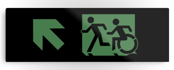 Accessible Means of Egress Icon Exit Sign Wheelchair Wheelie Running Man Symbol by Lee Wilson PWD Disability Evacuation Metal Printed 21