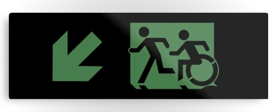 Accessible Means of Egress Icon Exit Sign Wheelchair Wheelie Running Man Symbol by Lee Wilson PWD Disability Evacuation Metal Printed 22
