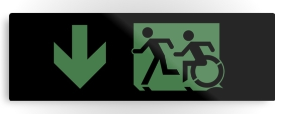 Accessible Means of Egress Icon Exit Sign Wheelchair Wheelie Running Man Symbol by Lee Wilson PWD Disability Evacuation Metal Printed 23