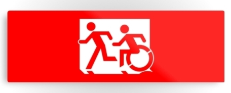Accessible Means of Egress Icon Exit Sign Wheelchair Wheelie Running Man Symbol by Lee Wilson PWD Disability Evacuation Metal Printed 24