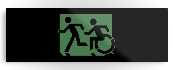 Accessible Means of Egress Icon Exit Sign Wheelchair Wheelie Running Man Symbol by Lee Wilson PWD Disability Evacuation Metal Printed 25