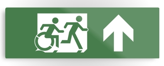 Accessible Means of Egress Icon Exit Sign Wheelchair Wheelie Running Man Symbol by Lee Wilson PWD Disability Evacuation Metal Printed 27