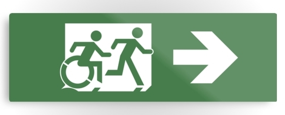 Accessible Means of Egress Icon Exit Sign Wheelchair Wheelie Running Man Symbol by Lee Wilson PWD Disability Evacuation Metal Printed 28