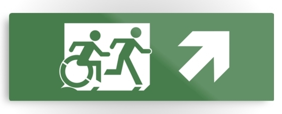 Accessible Means of Egress Icon Exit Sign Wheelchair Wheelie Running Man Symbol by Lee Wilson PWD Disability Evacuation Metal Printed 29