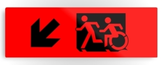 Accessible Means of Egress Icon Exit Sign Wheelchair Wheelie Running Man Symbol by Lee Wilson PWD Disability Evacuation Metal Printed 3