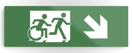 Accessible Means of Egress Icon Exit Sign Wheelchair Wheelie Running Man Symbol by Lee Wilson PWD Disability Evacuation Metal Printed 30
