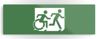Accessible Means of Egress Icon Exit Sign Wheelchair Wheelie Running Man Symbol by Lee Wilson PWD Disability Evacuation Metal Printed 32