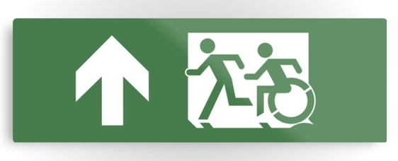 Accessible Means of Egress Icon Exit Sign Wheelchair Wheelie Running Man Symbol by Lee Wilson PWD Disability Evacuation Metal Printed 33