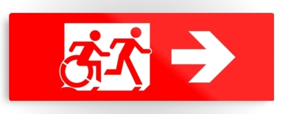 Accessible Means of Egress Icon Exit Sign Wheelchair Wheelie Running Man Symbol by Lee Wilson PWD Disability Evacuation Metal Printed 34