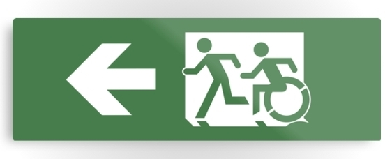 Accessible Means of Egress Icon Exit Sign Wheelchair Wheelie Running Man Symbol by Lee Wilson PWD Disability Evacuation Metal Printed 35