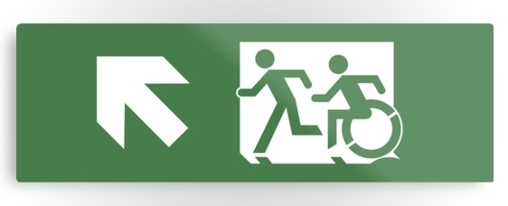 Accessible Means of Egress Icon Exit Sign Wheelchair Wheelie Running Man Symbol by Lee Wilson PWD Disability Evacuation Metal Printed 36