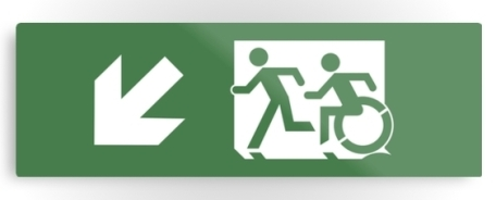 Accessible Means of Egress Icon Exit Sign Wheelchair Wheelie Running Man Symbol by Lee Wilson PWD Disability Evacuation Metal Printed 37