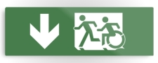 Accessible Means of Egress Icon Exit Sign Wheelchair Wheelie Running Man Symbol by Lee Wilson PWD Disability Evacuation Metal Printed 38