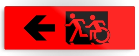 Accessible Means of Egress Icon Exit Sign Wheelchair Wheelie Running Man Symbol by Lee Wilson PWD Disability Evacuation Metal Printed 4