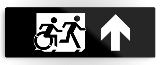 Accessible Means of Egress Icon Exit Sign Wheelchair Wheelie Running Man Symbol by Lee Wilson PWD Disability Evacuation Metal Printed 40