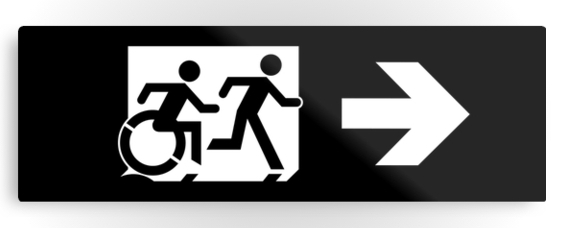 Accessible Means of Egress Icon Exit Sign Wheelchair Wheelie Running Man Symbol by Lee Wilson PWD Disability Evacuation Metal Printed 41