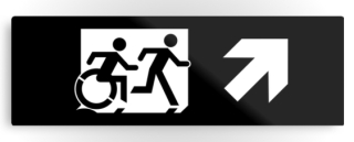 Accessible Means of Egress Icon Exit Sign Wheelchair Wheelie Running Man Symbol by Lee Wilson PWD Disability Evacuation Metal Printed 42