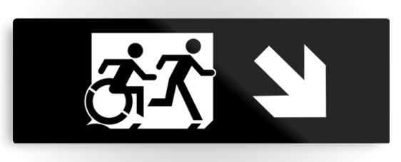 Accessible Means of Egress Icon Exit Sign Wheelchair Wheelie Running Man Symbol by Lee Wilson PWD Disability Evacuation Metal Printed 43