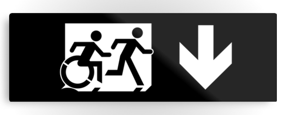 Accessible Means of Egress Icon Exit Sign Wheelchair Wheelie Running Man Symbol by Lee Wilson PWD Disability Evacuation Metal Printed 44