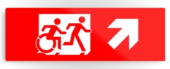 Accessible Means of Egress Icon Exit Sign Wheelchair Wheelie Running Man Symbol by Lee Wilson PWD Disability Evacuation Metal Printed 45