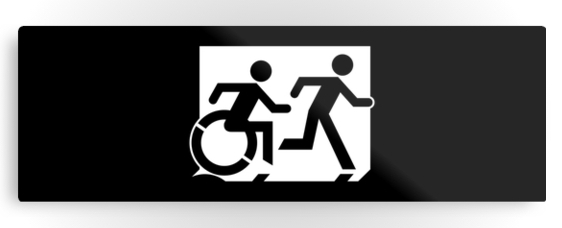 Accessible Means of Egress Icon Exit Sign Wheelchair Wheelie Running Man Symbol by Lee Wilson PWD Disability Evacuation Metal Printed 46