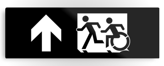 Accessible Means of Egress Icon Exit Sign Wheelchair Wheelie Running Man Symbol by Lee Wilson PWD Disability Evacuation Metal Printed 47
